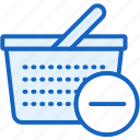 basket, commerce, e, minus, remove icon