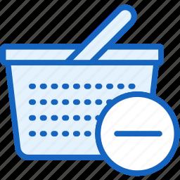basket, commerce, e, minus, remove icon