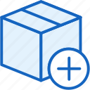add, box, commerce, e, plus, shipping icon