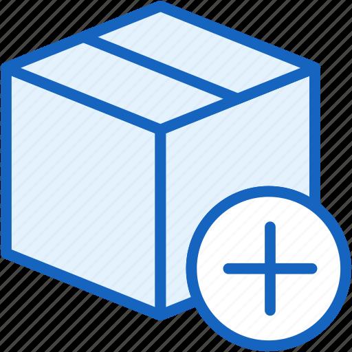 add, box, commerce, e, plus, shipping icon
