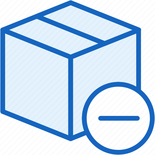 box, commerce, e, minus, shipping icon