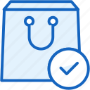 check, commerce, e, package, yes icon