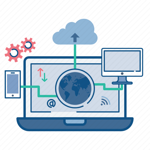 cloud, computer, data, mobile, optimization, synchronization, web icon