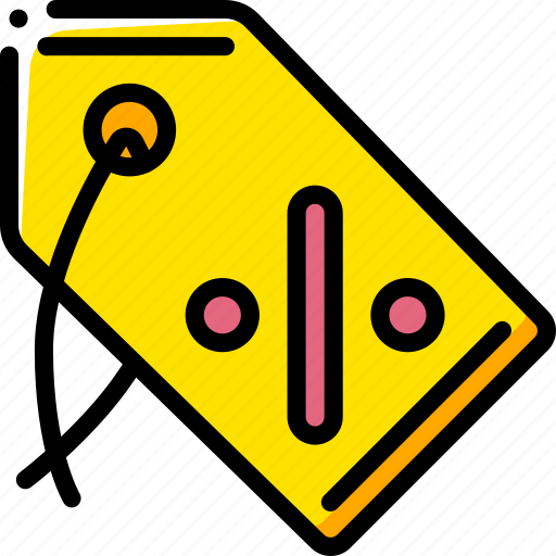 discount, ecommerce, tag, yellow icon