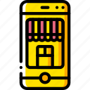 ecommerce, iphone, mobile, shop, yellow icon