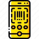code, ecommerce, iphone, scan, yellow icon