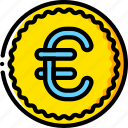 coin, currency, ecommerce, euro, money, payment, yellow icon