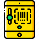 code, ecommerce, ipad, scan, yellow icon