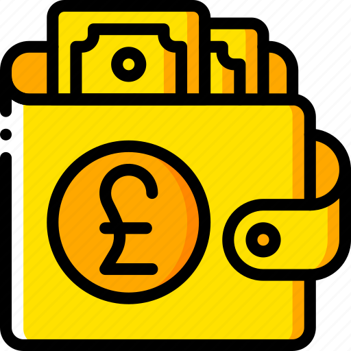 currency, ecommerce, money, payment, pound, wallet, yellow icon