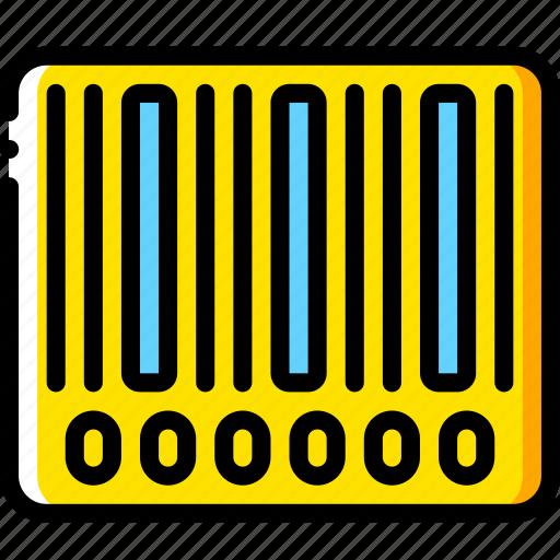 bar, code, ecommerce, yellow icon