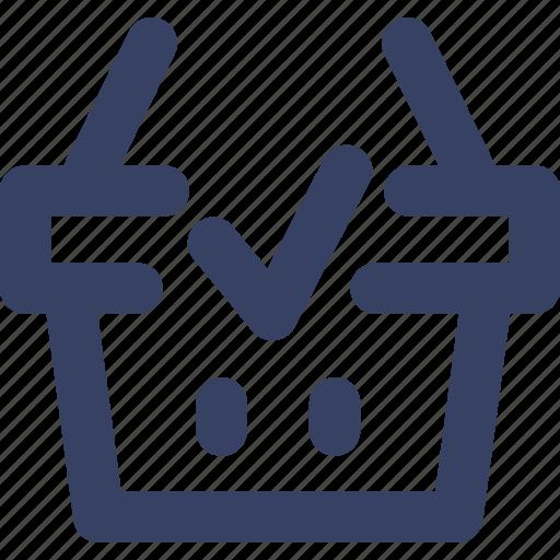 basket, check, ecommerce, shop, shopping, ui, web icon