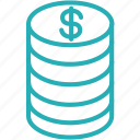 cash, coin, coins, currency, dollar, money icon
