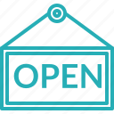 market, open, open board, open sign, shop icon