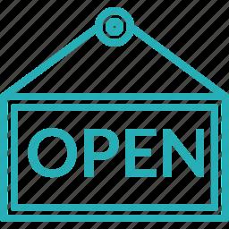 market, open, open board, open sign, shop icon