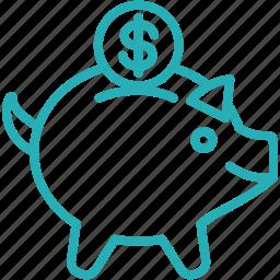 bank, budget, fund, invest, piggy, pigi, saving icon