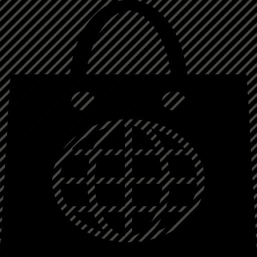 globe, map, plastic bag, shopping, shopping bag icon