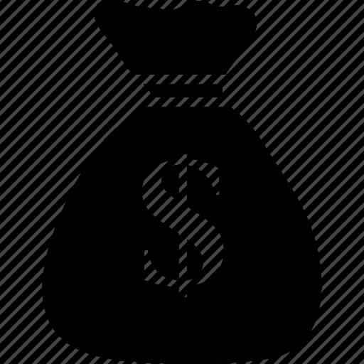 bag of dollars, dollar, sack, sack of dollars, sack of money, sack with dollar sign icon