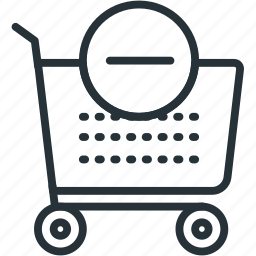 cart, commerce, e, minus icon