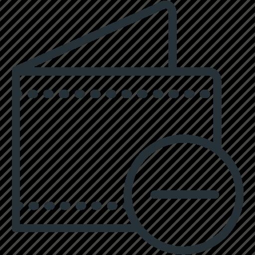 commerce, e, minus, wallet icon