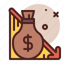 economy, finance, business, low, recession icon