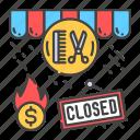 bankruptcy, beauty, business, closing, crisis, economic, salon icon