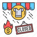 apparel, bankruptcy, business, closing, crisis, economic, store icon