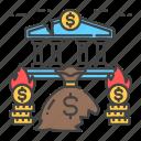 bank, bankruptcy, business, collapse, crisis, economic icon
