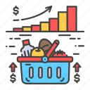 bankruptcy, basket, crisis, economic, food, increase, value icon