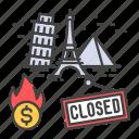 bankruptcy, business, closing, collapse, crisis, economic, landmark icon