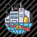 bankruptcy, business, collapse, crisis, economic, world icon