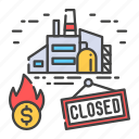 bankruptcy, business, closing, crisis, economic, factory, production icon