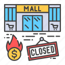 bankruptcy, business, closed, collapse, crisis, economic, mall icon
