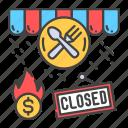 bankruptcy, business, closing, collapse, crisis, economic, restaurant icon