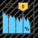 bankruptcy, chart, collapse, crisis, economic, falls, stock icon