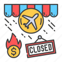 agency, bankruptcy, business, closing, crisis, economic, travel icon