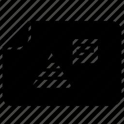 chart, data, metrics, triangle icon