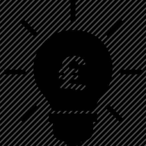 bulb, business, idea, light, pound icon