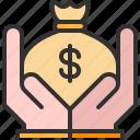 bag, business, finance, hand, money