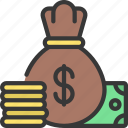 money, cash, moneybag, coins, capitol icon