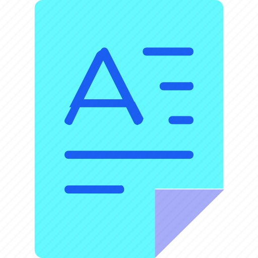 document, editorial, file, file type, folder, font, paper icon