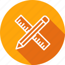 geometrical, measuring, pencil, ruler, scale, tools icon
