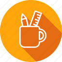 case, cup, pen, pencil, pot icon