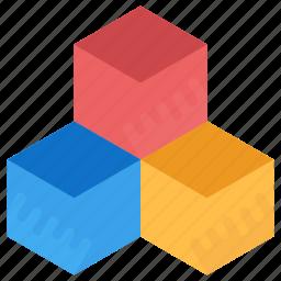 blocks, boxes, colored boxes, cube boxes, cubic boxes icon