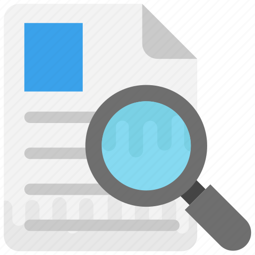 analysis, inspection, review, scan, search file icon