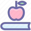 .svg, apple, book, education, knowledge, notebook, study icon