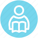 .svg, book, book reading, reading, student, student and book, study icon
