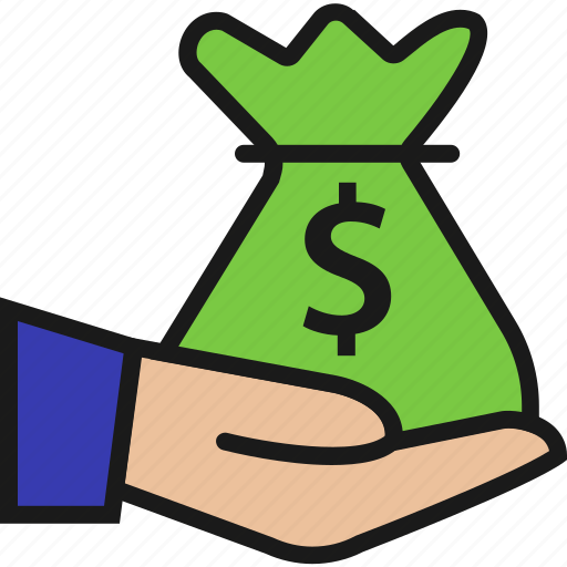 bag, dollar, hand, insurance, money, payment, sign icon