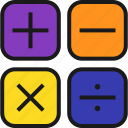 arithmeticas, calculator, division, mathematics, minus, multiplication, plus icon