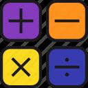 arithmeticas, calculator, division, mathematics, minus, multiplication, plus icon