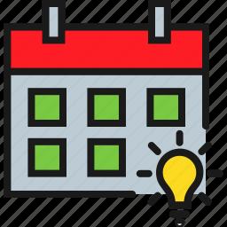 bulb, calendar, daily, general, idea, inspiration, knowledge icon